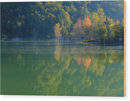 Wood Print featuring the photograph Autunno Alba Sul Lago - Autumn Lake Dawn 9689 by Enrico Pelos