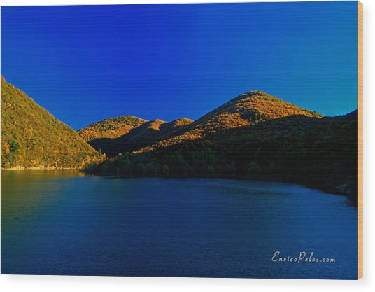 Autunno Tramonto Sul Lago - Autumn Lake Sunset Wood Print by Enrico Pelos