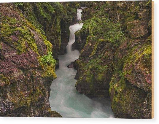 Avalanche Falls Wood Print