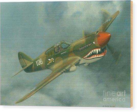Avg Flying Tiger Wood Print by Michael Swanson