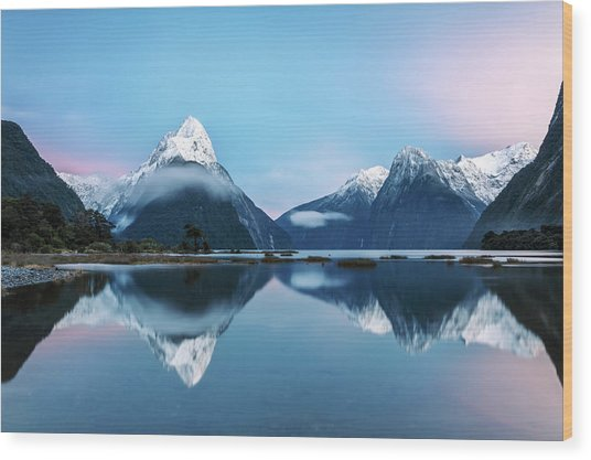 Awesome Sunrise At Milford Sound, New Wood Print by Matteo Colombo