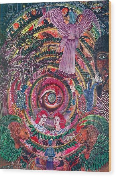 Wood Print featuring the painting Aya Muyuywairu Tornado Espiritual by Pablo Amaringo