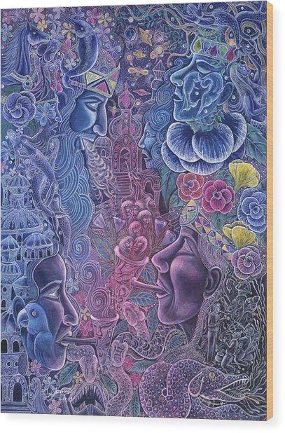 Wood Print featuring the painting Ayari Warmi by Pablo Amaringo