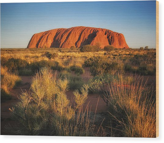 Ayers Rock - Uluru Sunset Wood Print