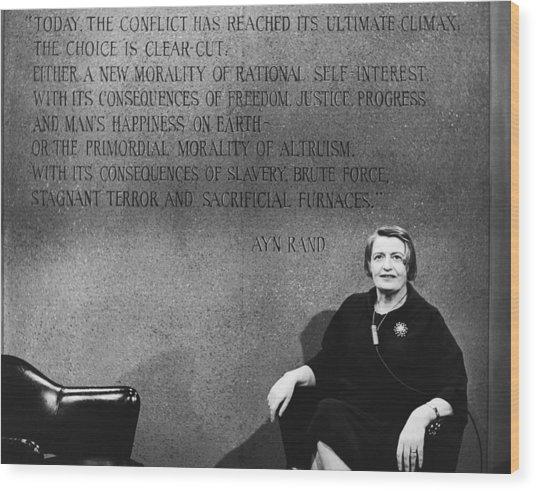 Ayn Rand Wood Print