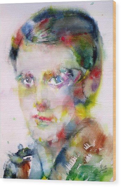 Ayn Rand - Watercolor Portrait Wood Print