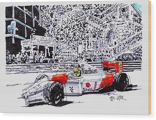 Ayrton Senna Mclaren Grand Prix Of Monaco Wood Print