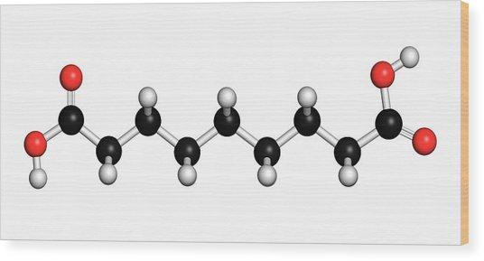 Azelaic Acid Nonanedioic Acid Molecule Wood Print by Molekuul