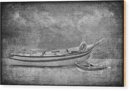 Azorean Fishing Boats B/w Wood Print