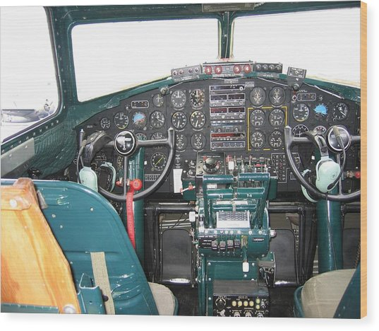 B-17 Flying Fortress Yankee Lady Cockpit Wood Print