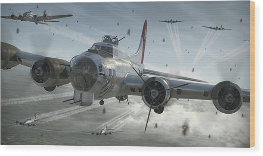B-17g Hikin' For Home Wood Print by Robert Perry
