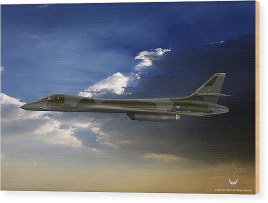 B-1b Lancer Wood Print by Arthur Eggers