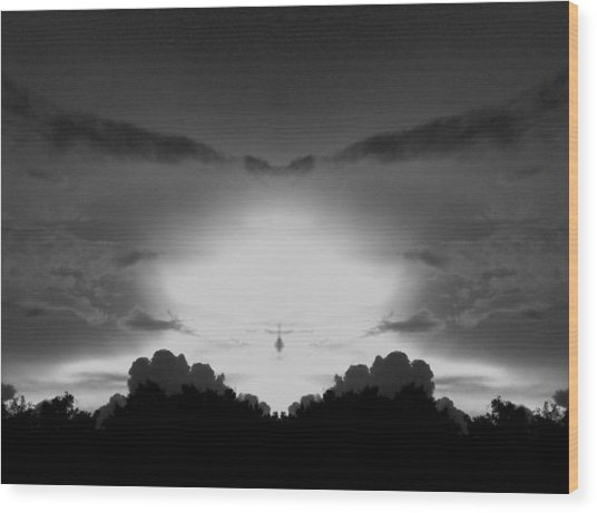 Helicopter And Stormy Sky Wood Print