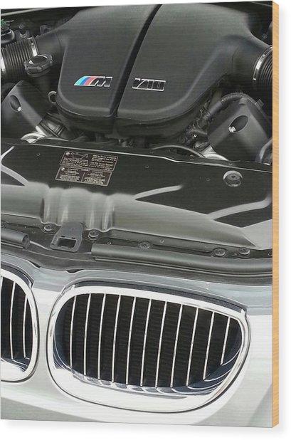 B M W M5 V10 Motor Wood Print