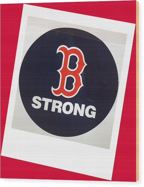 B Strong Red White And Blue Wood Print