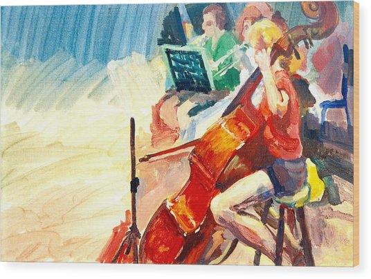 B03. The Cellist Wood Print