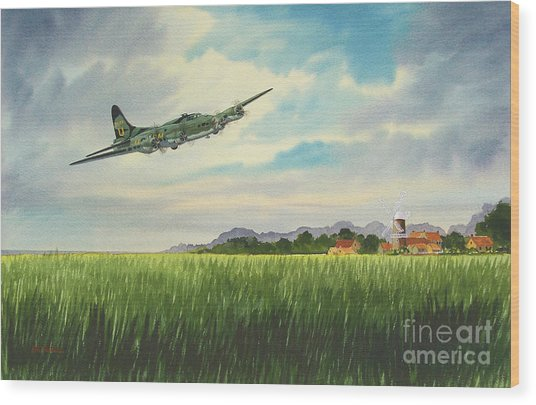 B17 Over Norfolk England Wood Print