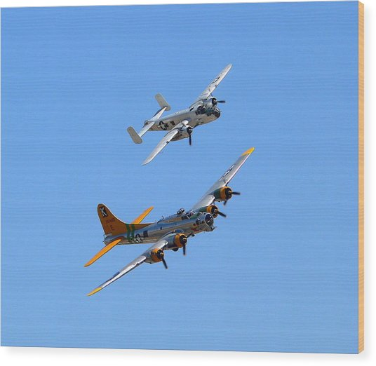 Wood Print featuring the photograph B25 Mitchell And B17 Flying Fortress by Jeff Lowe