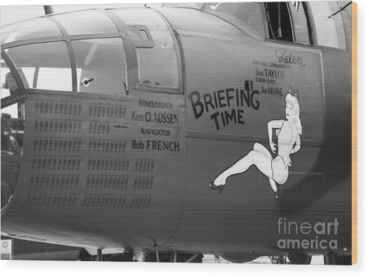 B25j Mitchell Briefing Time Bw Wood Print