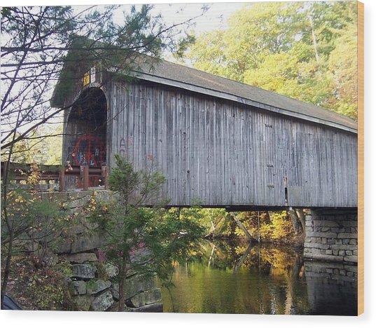 Babbs Covered Bridge In Maine Wood Print