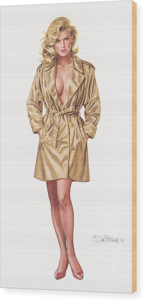 Babe In Trenchcoat Wood Print