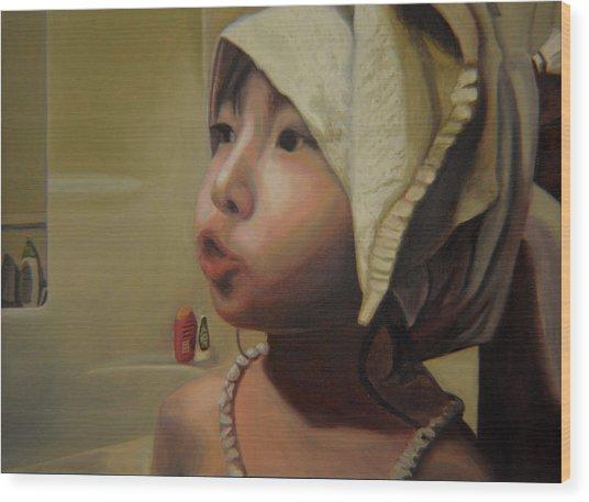 Baby Bath Mama Wood Print