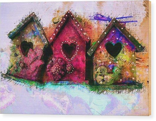 Baby Birdhouses Wood Print