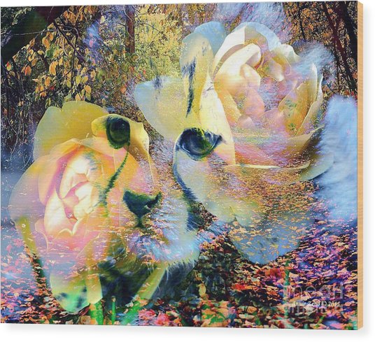 Baby Cheetah And Roses In Wilderness Wood Print