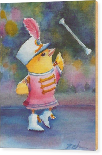 Baby Chick Drum Majorette Wood Print