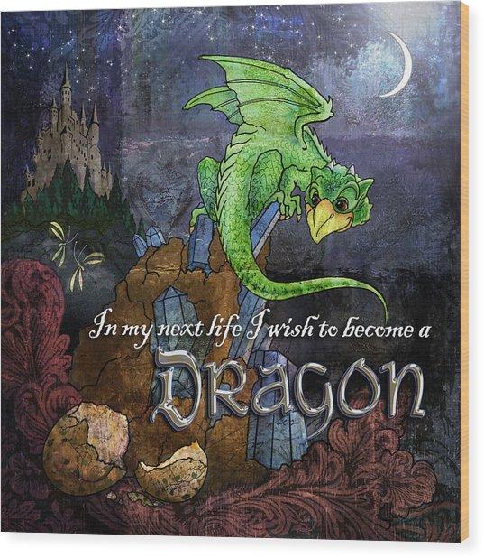 Baby Dragon Wood Print