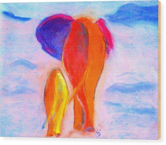 Baby Elephant And Mom Wood Print