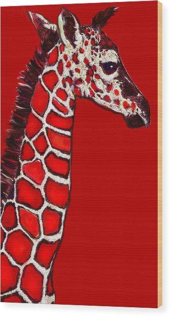 Baby Giraffe In Red Black And White Wood Print