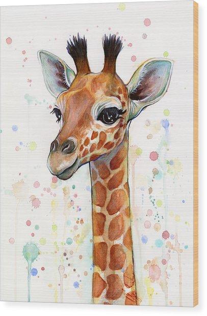 Baby Giraffe Watercolor  Wood Print