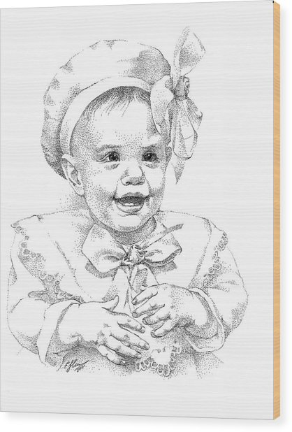 Baby Girl. Stippling. Commission. Wood Print