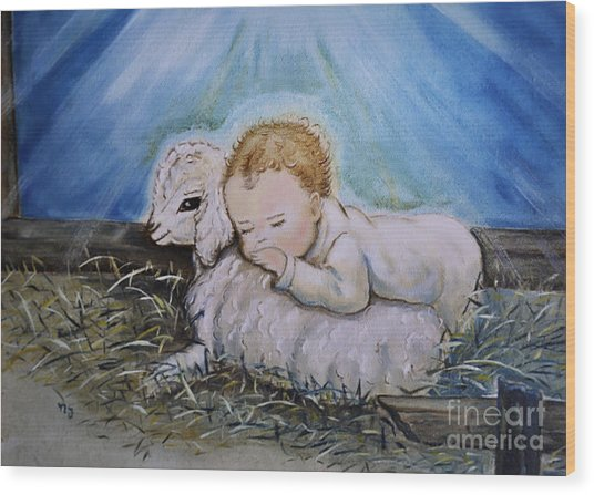 Baby Jesus Little Lamb Wood Print