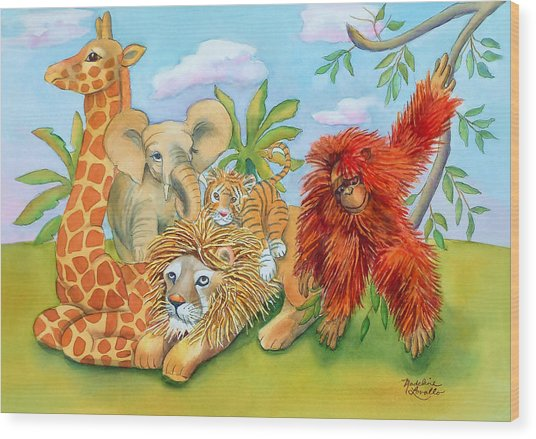 Baby Jungle Animals Wood Print