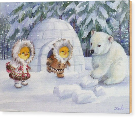Baby Polar Bear Wood Print