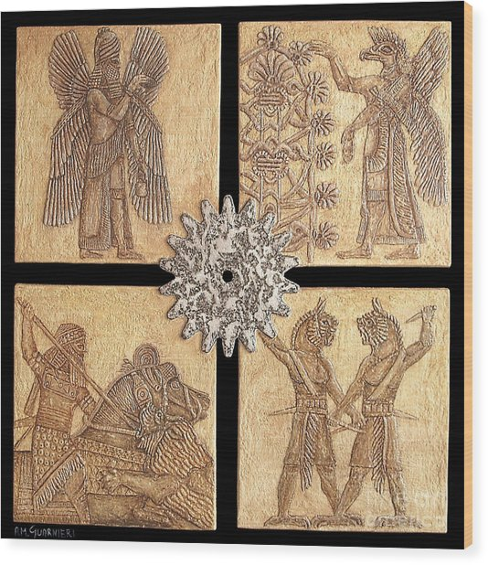 Babylon Wood Print by Anna Maria Guarnieri