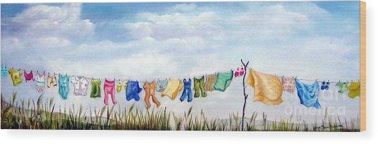 Baby's Clothesline Wood Print