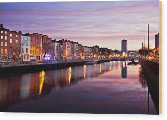 Wood Print featuring the photograph Bachelors Walk And River Liffey At Dawn - Dublin by Barry O Carroll