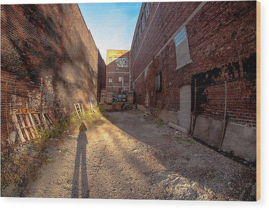 Back Alley Shadow Wood Print
