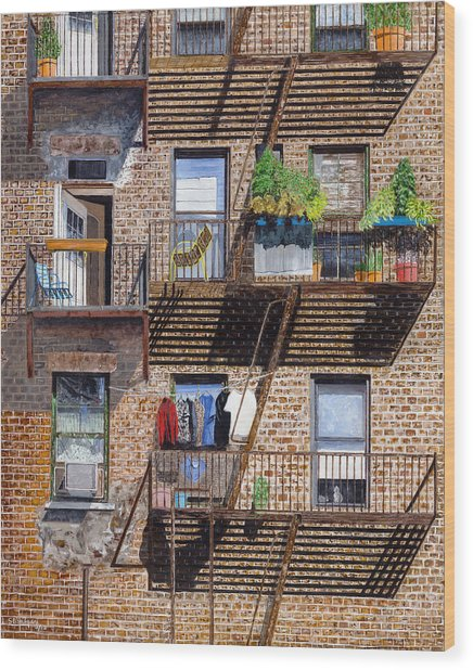 Back Alley View Greenwich Vlg Wood Print