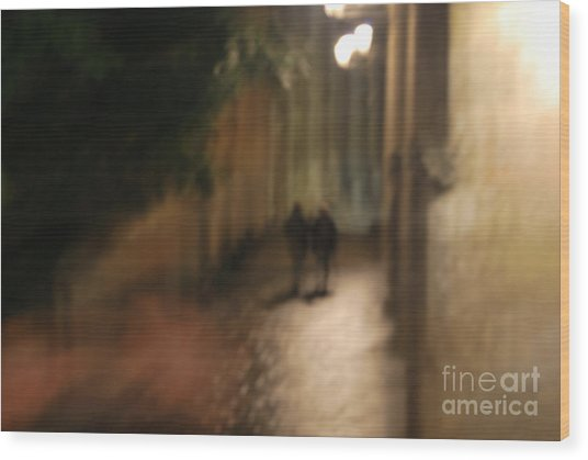 Back Street Of Barcelona Cathedral Wood Print