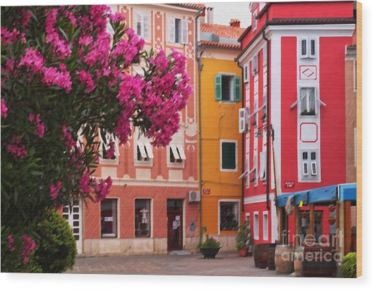 Back Streets Of Izola Slovenia Wood Print