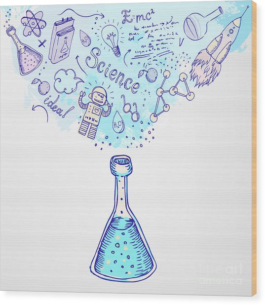 Back To School Science Learning Symbols Wood Print