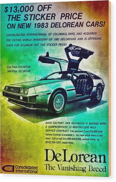 Back To The Delorean Wood Print
