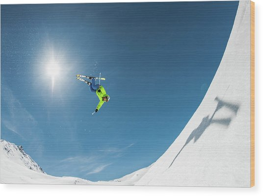 Backcountry Backflip Wood Print by Eric Verbiest