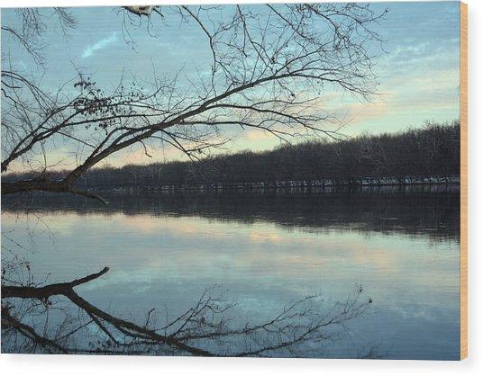 Backlit Skies On The Potomac River Wood Print by Bill Helman