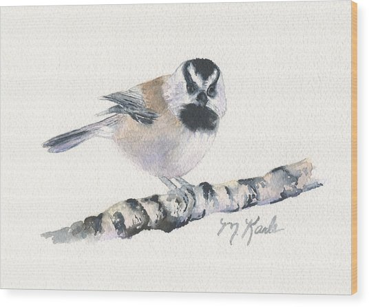 Backyard Busybody - Mountain Chickadee Wood Print