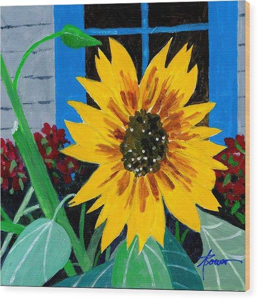 Backyard Flowers  Wood Print
